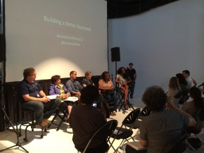 Thomas Burr Dodd (Artist/Owner of Brooklyn Fireproof), Jose Lopez (Made The Road NY), Meryl Meislier (Art Educator) Daryl-Ann Saunders (Artist/Photographer/Activist), and Nadine Whitted (Bushwick Community Board District Manager) discussed how to build a better Bushwick on Bushwick Film Festival.